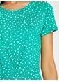 Koton Kısa Kollu Puantiyeli Elbise Yeşil